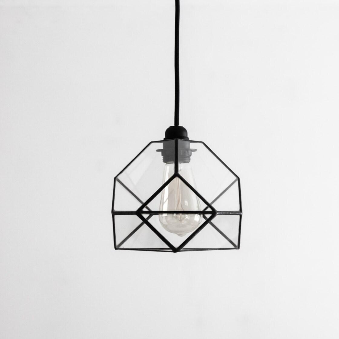 Kleine geometrische Glas Kristallleuchter / industrielle