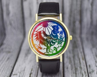 Year of the Rooster Watch | Chinese Zodiac Sign | Leather Watch | Ladies Watch | Men's Watch | Birthday Gift Ideas | Fashion Accessories