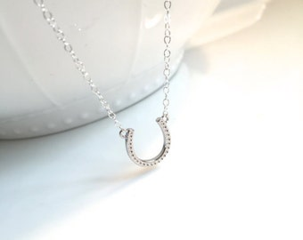 Sterling Silver Horseshoe Necklace, Rose Gold Vermeil nHorseshoe Necklace, Gold Vermeil Horseshoe Necklace, Good Luck Horseshoe Necklace