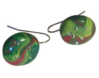 Green And Pink Clay Crystal Button Earrings