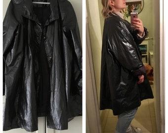 Grey raincoat shiny vintage oversize