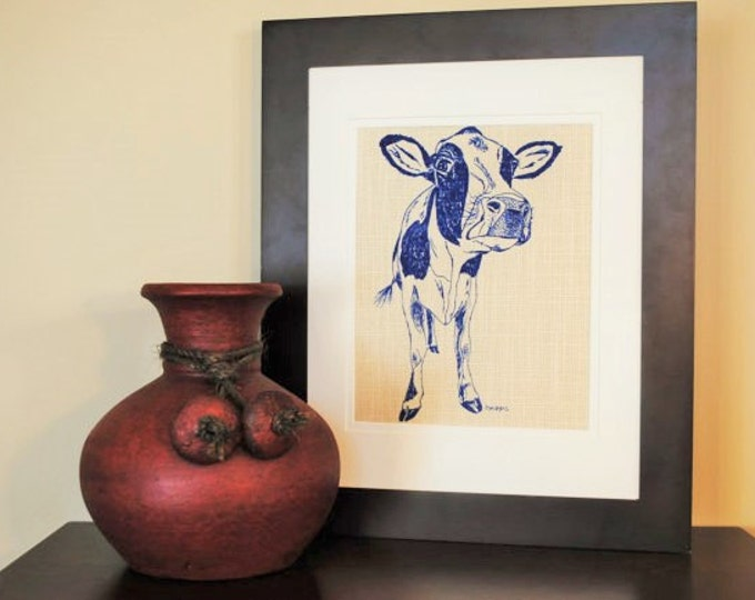 Living Room Wall Art - Art for Bedroom - Print on Fabric - Animal Artwork - Cow Print - Cow Home Decor - Animal Baby Shower Gift
