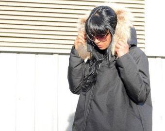 Winter waterproof jacket, oversized women party coat, evening jacket for plus size women, black fox fur jacket, hooded jacket, large size