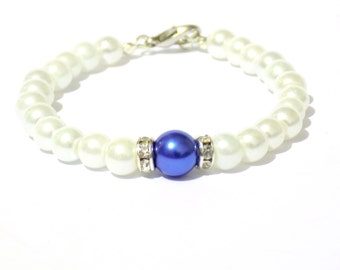 White and blue pearl bracelet, white pearl bracelet, blue pearl bracelet, beaded bracelet, bridesmaid gifts, bridal bracelet, bracelet