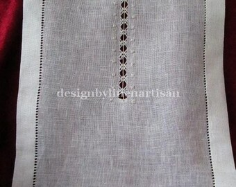 Linen curtain hemstitched (a pair), pulled thread curtains, drawn thread work shades
