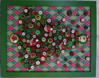 BUTTON CHRISTMAS TREE in frame!  Polymer Clay Santa Tree Topper, Elves and More! Done in Red, Green and Ivory!  So Sweet!