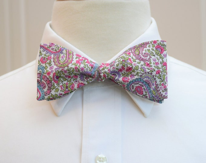 Men's Bow Tie, Liberty of London pinks and purples paisley, groomsmen's gift, wedding bow tie, groom bow tie, Charles print pink bow tie