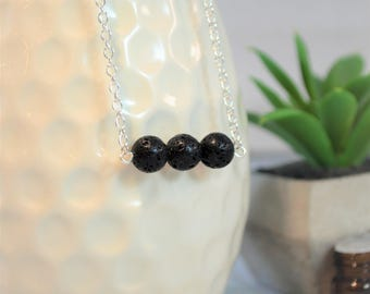 Lava Necklace, Essential Oil Necklace, Oil Diffuser Necklace, Diffuser Necklace, Lava Rock Necklace, Lava, Aromatherepy, Silver Necklace