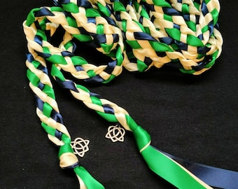 Navy, Emerald, Ivory Handfasting Ceremony Braid- Celtic Heart Knot- 6 or 9 feet- Wedding- Hand fasting- Braided Together
