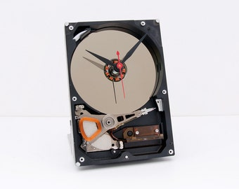 Desk clock, recycled Computer hard drive clock, HDD clock, gift for dad, unique gift for him, graduation gift, unique gift for her, upcycled