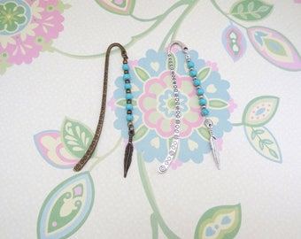 Bronze or Silver Feather and Turquoise Beads Bookmark/Bookhook - Ready to Ship