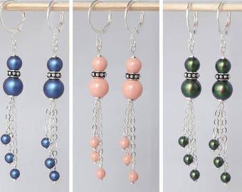 Earrings, handmade Swarovski Crystal beads