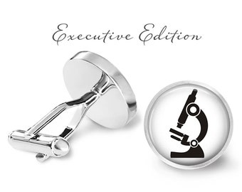 Microscope Cufflinks - Scientist Cuff Links - Lab Cufflink - Science Cuff Link (Pair) Lifetime Guarantee (S1299)