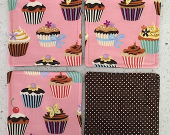 Drink Coasters - Set of 4 - Cupcakes on Pink With Brown