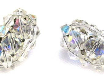Vintage Crystal Wedding Earrings, Curved Design Clip On