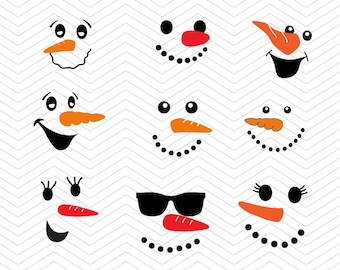Snowman Faces svg Christmas DXF SVG PNG Snowman winter cut files , Silhouette studio,  Cricut Design, Sure, Makes the Cut, instant Download