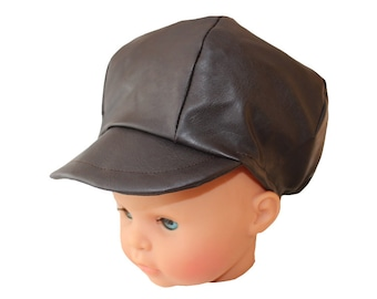 Hat style newsboy baby child in faux leather Brown