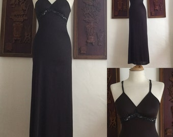 Vintage 70s / Black / Lace / Spaghetti Strap / Empire Waist / Boudoir / Pin Up / Nightgown / Small