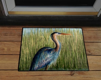 """Blue Heron 18"""" x 24"""" Door Mat, Floor Mat, Home Decor"""