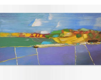 August fields - Impasto painting Bright artwork Intuitive art Expressive art Horizontal canvas Pastoral painting Impressionistic Alla prima
