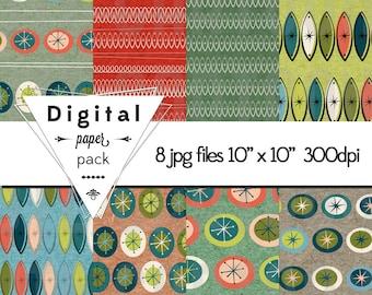 Retro Modern Paper Pack 8 Printable Digital Scrapbooking Papers - 10 x 10 - 300 DPI - INSTANT DOWNLOAD