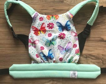 Mint Watercolor Butterflies Baby Doll Carrier