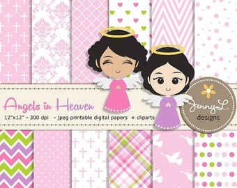 50% OFF Angel Baptism Digital Papers, Angels Clipart, First Communion Digital Scrapbooking, Christening Digital Paper, Girl Baptismal, Dedic
