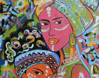 Mama,oil on canvas paint,African paintings,African art,Hand painting.