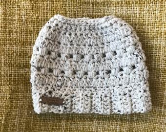 Puff Stitch Crochet Messy Bun Beanie - Adult