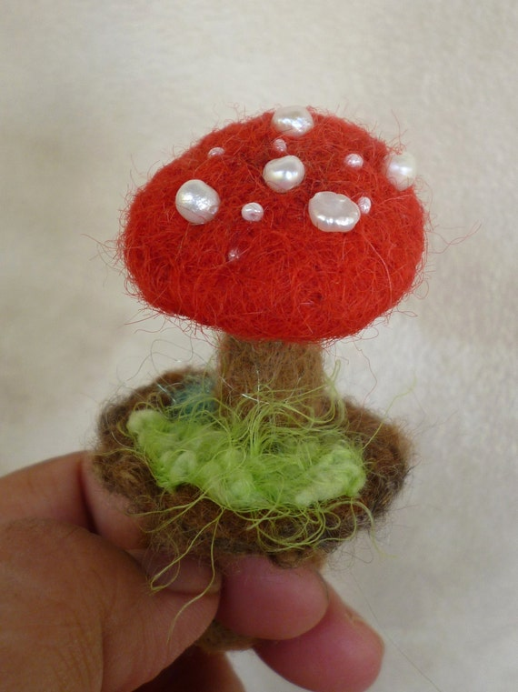 Felted Ring Mushroom Toadstool Made to Order