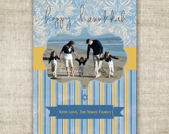"Hanukkah Greeting Card ""Happy Hanukkah"" Family Picture Customizable Printable Digital HOLIDAY Greeting"