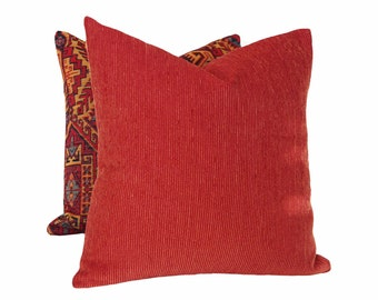 Rustic Red Pillow Covers, Brick Red Pillows, Southwestern Cushion Covers, Textured Throw Pillows, Rust Toss Pillows, 12x18, 18x18