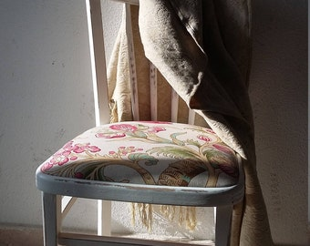 Old Chair. Antique Chair. Upholstery of the Sanderson house. Decoration.
