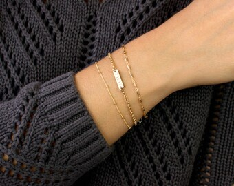 Personalized Bar Bracelet, Custom Bar Bracelet, Initial Gold Bar Bracelet,  Bridesmaid Gift, Gold Baby Bracelet, LEILAjewelryShop, B214