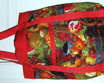 Foodie Tote Bag Red with Red Green Blue & Yellow Fruit in Baskets