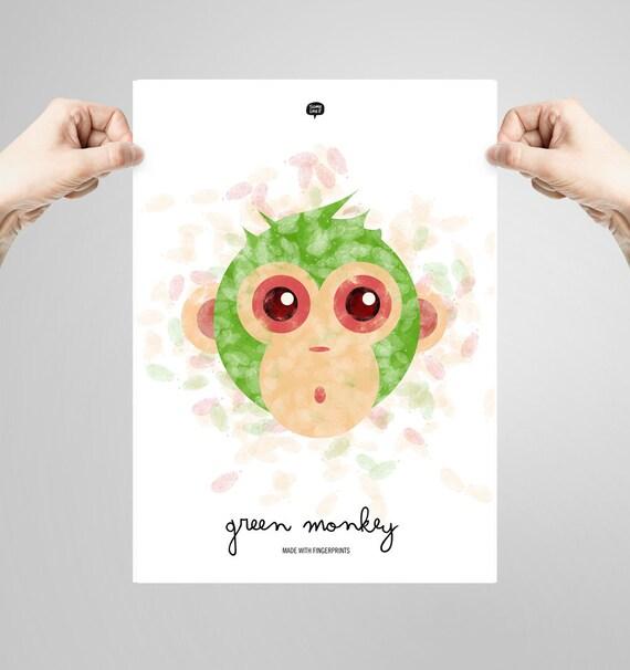 Wall art decor.  Picture Monkey. Fingerprint. Illustration. Printable art. Digital print. Instant digital download