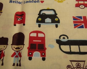 fabric coupon, 40cmx50cm, london motif (pale yellow background), stitching, patchwork