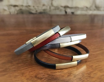 CIVAL Collective - Aida | Bracelet | Simple Leather Bracelet with Bonze Slide | 6 Colors |  Easy Magnet Clasp | Every Day Basics | Leather