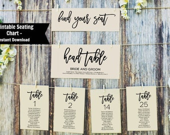 Printable Seating Chart, Wedding Seating Chart, Editable Table Numbers, Instant Download PDF, WLP369
