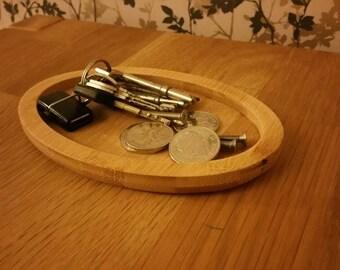 Bamboo Oval Pocket tray, change tray, key tray or jewellery tray.