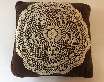 Vintage Brown Corduroy Pillow with Attached Crocheted Doily