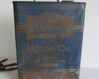Four Hundred Motor Oil Can 2 Gallon Can Rustic Farmhouse Decor Primitive Old Gas Can Rustic Decor Industrial Metal Gas Can Dads Garage Decor