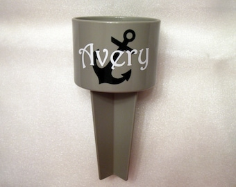 Anchor Drink Spiker, Monogrammed Sand Cup Holder - Holds Your Beverage at the Beach, Spring Break Essential Gift, Grey Black White