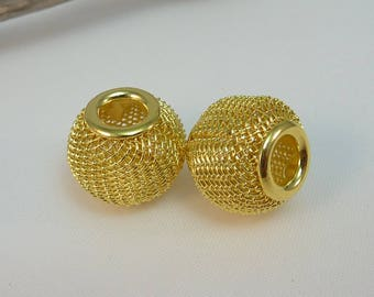 2 charm 14mm gold metal mesh beads