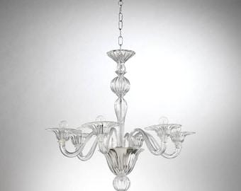 Ca' Casanova Murano chandelier 6 lights crystal