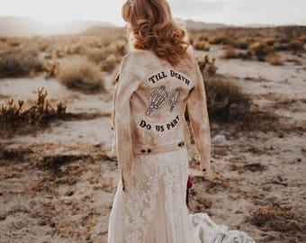 Til Death Do Us Part Wedding Jacket   Custom Embroidery   Wedding Jacket for Women   Personalized Wedding Jacket   Custom Wedding Jacket