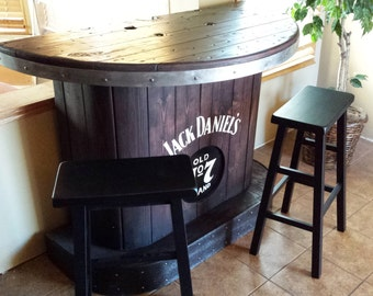 SOLD Jack Daniels home bar custom hand built rustic whiskey, pub, man cave portable