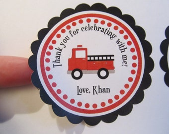 Firetruck Favor Stickers - Firetruck Theme - Firetruck Birthday Party - Firetruck Favor Tags - Firetruck Gift Tags - Fireman Party