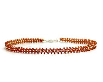Brown Ankle Bracelet - Minimalist Jewelry - Seed Bead Anklet - Foot Jewelry - Beaded Jewelry - Chain Anklet - Daisy Chain Jewelry