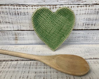Heart Spoon Rest -  Trinket Dish- Green- Burlap- Jewelry Dish- Soap Dish- Ceramic Heart- Coffee Spoon rest- Kitchen Decor -  pottery- candle